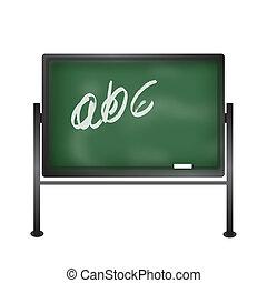 Green Blackboard - Green school blackboard stand with chalk