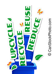 Reduce, Reuse, Upcycle, Recycle - Environmental concept, bin...