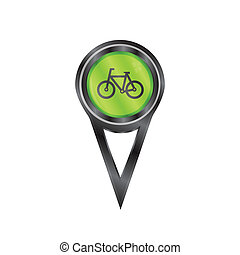 Pin sign bicycle - Black pin sign with a icon of a bicycle