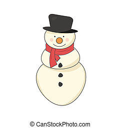Snowman with a scarf - Happy snowman with a red scarf