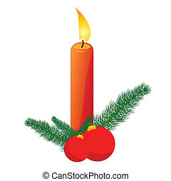 Christmas Candle - Christmas decoration with candle, pine...