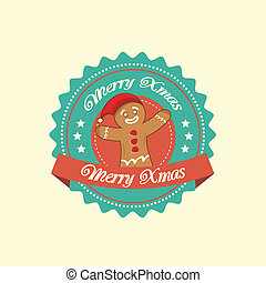 Gingerbread Man christmas label - Vintage christmas label...
