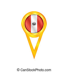 Peru pin flag - Gold pin with the national flag of Peru