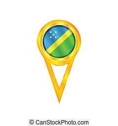 Solomon Islands pin flag - Gold pin with the national flag...