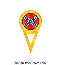 Confederate pin battle flag - Gold pin with the...