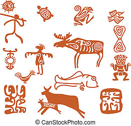 Tribal drawings - Stylized aboriginal primitive shapes,...