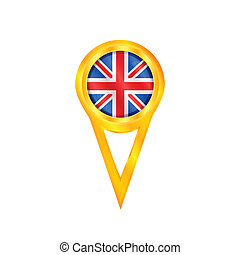 United Kingdom pin flag - Gold pin with the national flag of...