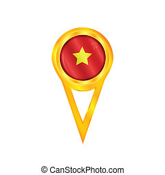 Vietnam pin flag - Gold pin with the national flag of...
