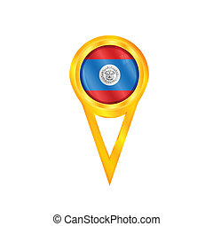 Belize pin flag - Gold pin with the national flag of Belize