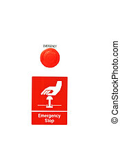Emergency stop button on white background