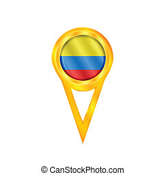 Colombia medal flag - Gold medal with the national flag of...