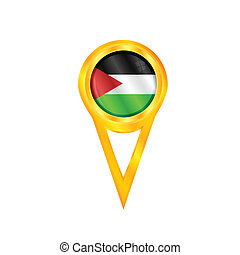 Gaza Strip pin flag - Gold pin with the national flag of...