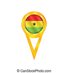 Ghana pin flag - Gold pin with the national flag of Ghana