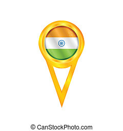 India pin flag - Gold pin with the national flag of India