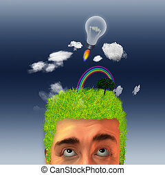 Earth Head - Man with landscape on his head and idea rocket