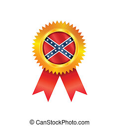 Confederate medal battle flag - Gold medal with the...
