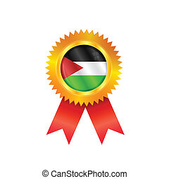 Gaza Strip medal flag - Gold medal with the national flag of...
