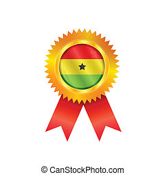Ghana medal flag - Gold medal with the national flag of...
