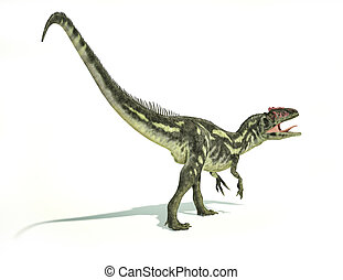 Allosaurus Dinosaur, photorealistic and scientifically correct representation, dynamic posture. On white background with drop shadow. Clipping path included.