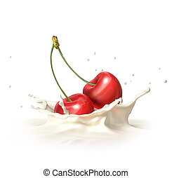 Two red cherries falling into milk splashing.