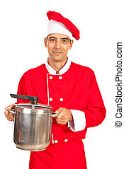 Chef male holding inox pot isolated on white background