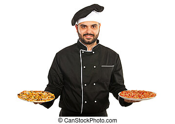 Chef man serving pizza - Happy chef man serving pizza...