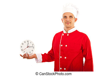 Chef man holding clock