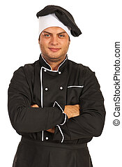 Chef with arms folded - Happy chef man with arms folded...