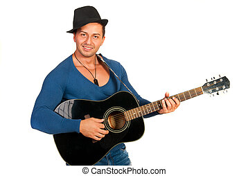 Cool guy with hat playing guitar isolated on white...