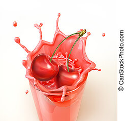 Cherries splashing into a glass full of milkshake. Close-up...