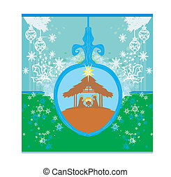 Christian Christmas nativity scene of baby Jesus in transparent ball hanging on blue background