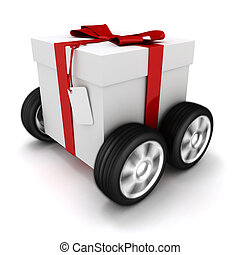 3d present box with red bow on wheels