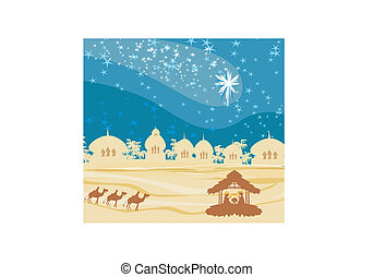 Biblical scene - birth of Jesus in Bethlehem