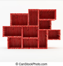 Red Wooden book Shelf on white background