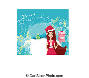 beautiful pin-up girl in Christmas inspired costume card