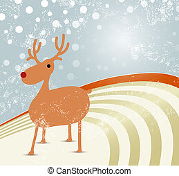 Christmas background with reindeer