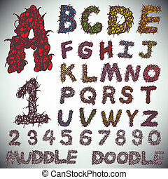 Hand drawing alphabet and numbers muddle doodle, vector