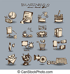 doodle business set - Business set Hand drawn outline...