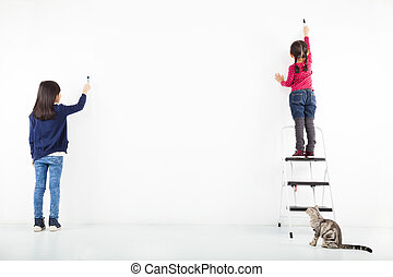 two kids drawing on the blank white wall