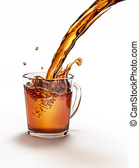 Tea pouring into a glass mug splashing. On a white surface...