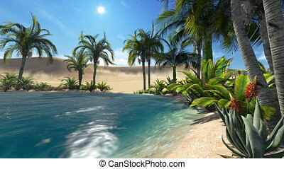 Oasis in the desert - Realistic three dimensional animation...