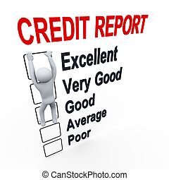 3d man and credit score report - 3d illustration of person...