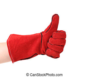 Hand shows thumb up in glove.