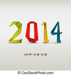 New Year card with folded colored paper vector eps 10