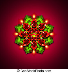 rangoli with diwali diya elements over dark background -...