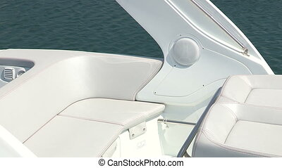 Rear seat of boat - Rear seat of white boat