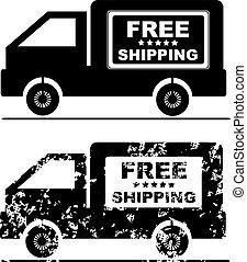 befordran, berätta, gratis, skeppning,  stam