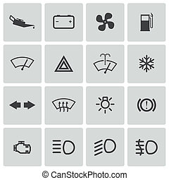 Vector balck car dashboard icons set