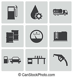 Vector black gas station icons set