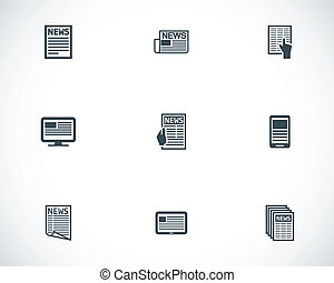 Vector black newspaper icons set